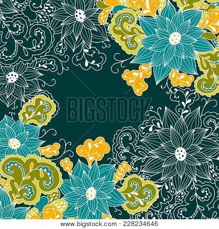 Decorative Element Corners. Vector Floral Hand-drawn Template For Cards, Invitations, Vintage Abstra