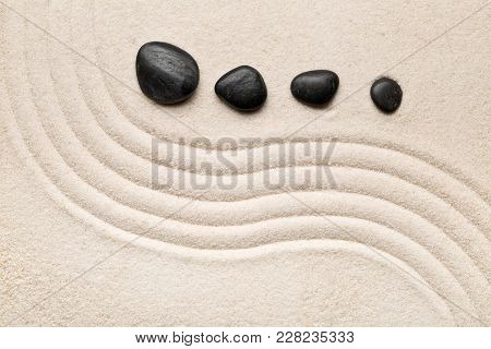 Zen Sand And Stone Garden With Curved Raked Lines. Simplicity, Concentration Or Calmness Abstract Co