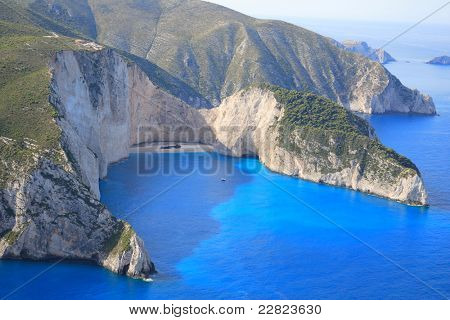 Aerial view on the Ionian island of Zakynthos Greece - The  famous Navagio shipwreck beach