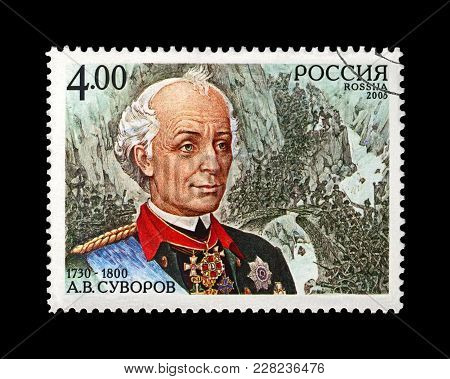 Russia - Circa 2005: Canceled Stamp Printed In Russia Shows Famous Russian Military Commander Alexan