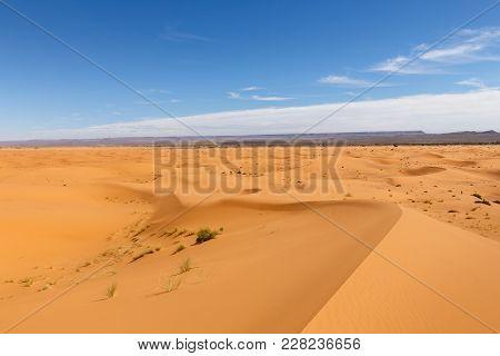 Dune Erg Chebbi In The Blue Sky, Morocco