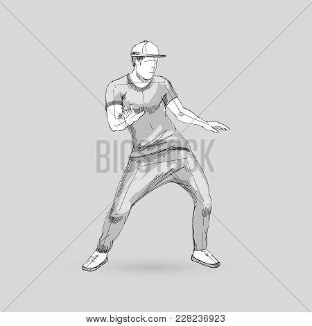Modern Style Dancer Sketch Of A Man Dancer Hip Hop Choreography On Gray