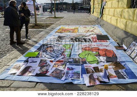 Protests On The Streets Of Milan For The Release Of Ahed Tamimi, A 17-year Old Palestinian Girl, Arr