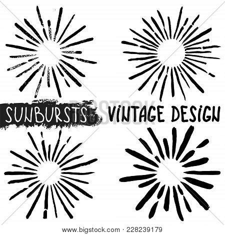Sun Burst. Collection Of Trendy Hand Drawn Retro Sunbursts. Bursting Rays Design Elements. Vector Il