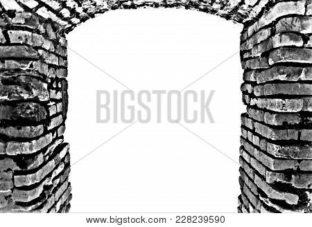 Black And White Grey Abstract Stony Brick Gate Obsolete Entrance With Empty Copyspace Background