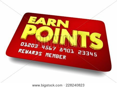 Earn Points Reward Card Shopping Customer Loyalty 3d Illustration