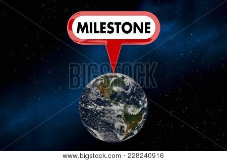 Milestone Planet Earth World Big Win Accomplishment 3d Illustration  - Elements of this image furnished by NASA