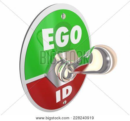 Ego Vs Id Toggle Switch Psychology Psyche 3d Illustration