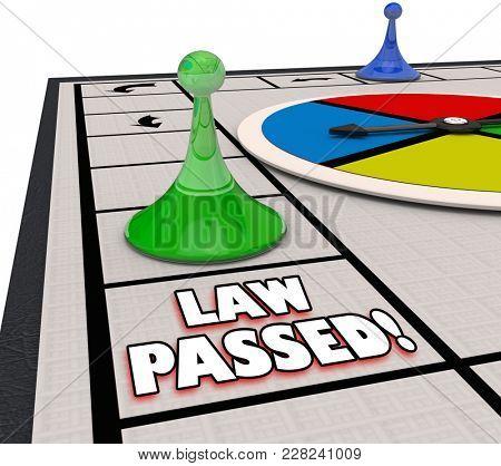Law Passed Board Game Passing Legislation Process 3d Illustration