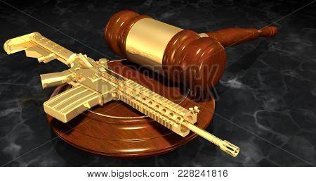 Automatic Rifle Regulation Law Concept 3D Illustration