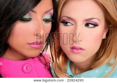 blonde and brunette women 80s pink style makeup closeup faces