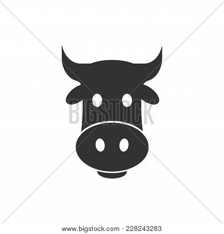 Head Cow Icon. Head Cow Vector Isolated On White Background. Flat Vector Illustration In Black. Eps