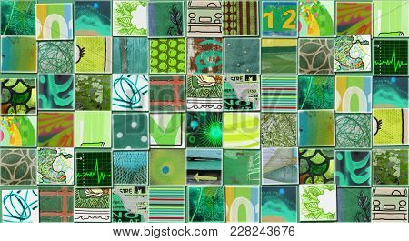 Abstract Green Background made with Small illustrations