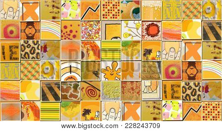 Abstract Yellow Background made with Small illustrations