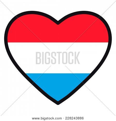Flag of Luxembourg in the shape of Heart with contrasting contour, symbol of love for his country, patriotism, icon for Independence Day.