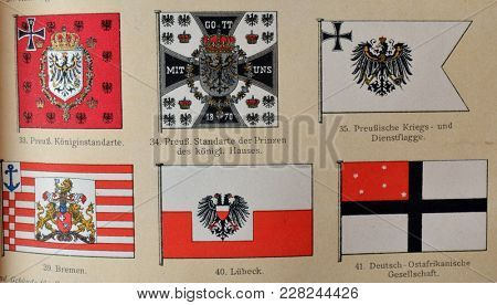 ILLUSTRATIVE EDITORIAL.Vintage illustration - GERMANY, HERALDRY And FLAGS. Meyers Kleines Lexikon. Edition 1908. February 22 2018 in Kiev,Ukraine