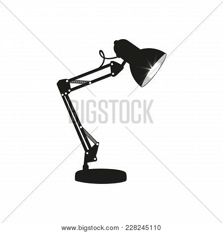 Black Desk Lamp Isolated On White Background. Black Lamp Electricity Light Electric Object. Flat Ill