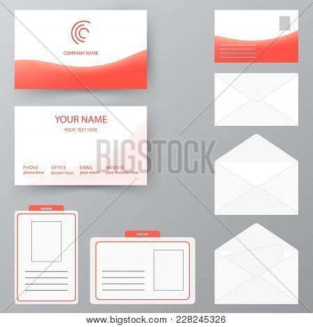 Set Of Business Card With Envelope And Badge. Personal Style Collection. Vector Illustration Design