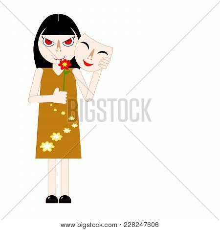 Woman Hiding Her Real Feeling Behind A Mask; Hold Red Flower. Insincere Lady Taking Off Smiling Mask