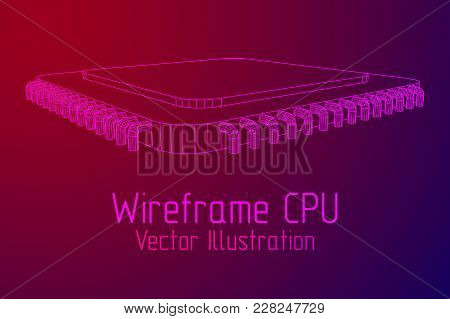 Micro-chip Quantum Processor, Micro-processor With Board Electronic Cpu Wireframe Low Poly Mesh Vect