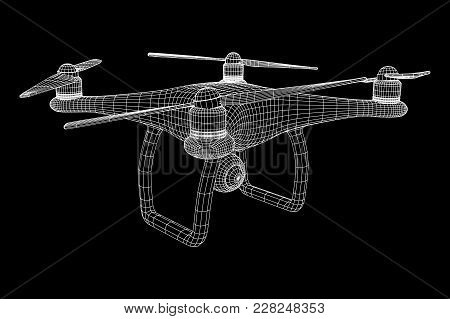 Remote Control Air Drone. Dron Flying With Action Video Camera. Wireframe Low Poly Mesh Vector Illus
