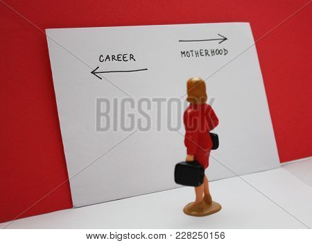 Miniature People, Woman Decides Between A Career And A Child. Bilogical Clock, Feministmambitions, J