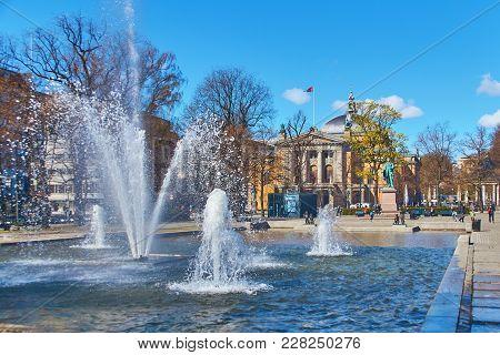 Oslo, Norway: April 26 2017 - View Of The Monument To Henrik Wergeland, Famous Norwegian Writer, Poe