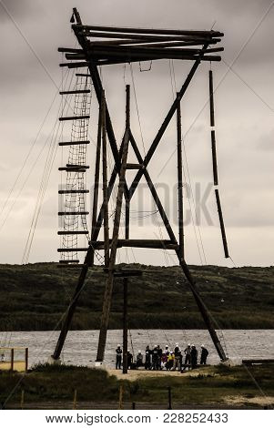 A Twenty Two Metre High Team Tower For Sport Activities, Situated At A Lake Beach In Ijmuiden, The N