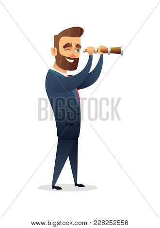 Successful Beard Businessman Character Looking Through A Magnifying Glass. Searching For Solution. B