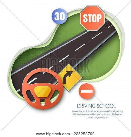 Vector Driving School Concept. Road, Car Steering Wheel, Traffic Signs Paper Cut Style Isolated Illu