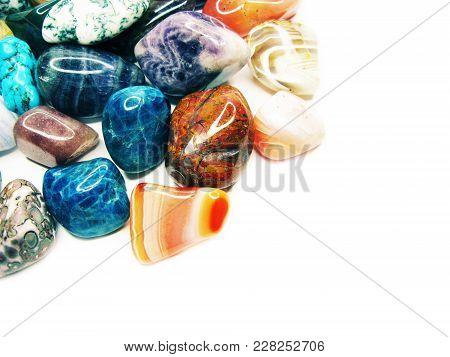 Amethyst Quartz Avanturine Sodalite Garnet Semigem Crystals Geological Mineral Set Isolated