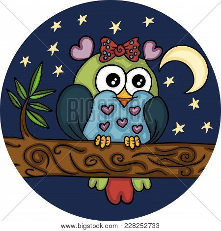 Scalable Vectorial Representing A Lovely Adorable Owl In Night Landscape, Element For Design.