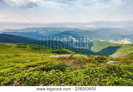 Beautiful Landscape Of Carpathian Mountains. Rolling Hill With Huge Boulders Among The Green Grass I