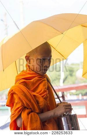Sihanoukville, Cambodia - April 30: Unidentified Buddhist Monk In Fron Of The Sea In Sihanoukville O