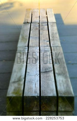 Wooden Bench Abstract Grunge Background,focus Long Wooden Benches No One Sitting But Have A Leaf Fal