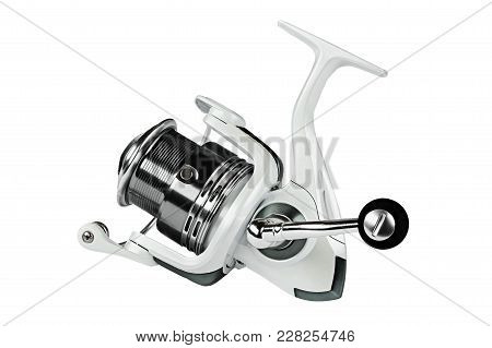 Fishing Reel On Black Background.