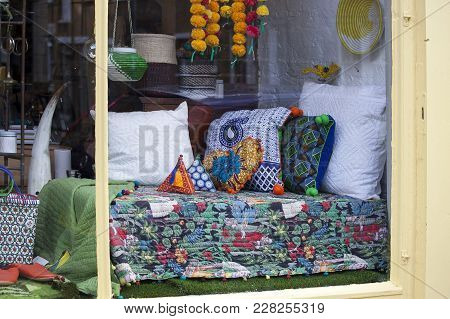 London, England - August 20, 2017 Shop Window With Bedding In Patchwork Technique