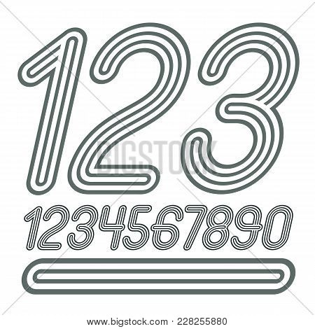 Set Of Stylish Disco Vector Digits, Modern Numerals Collection. Funky Cursive Numerals From 0 To 9 B