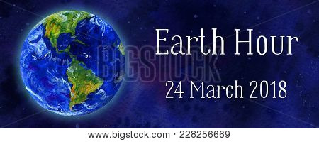 Earth Hour Hand Drawn Watercolor Horizontal Illustration - Globe In Space With Title And Date