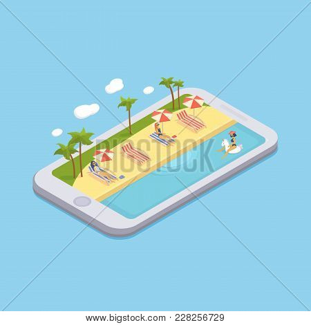 Isometric Swimming Pool With Chaise Lounges, Parasol Umbrellas, Beach Balls, Palms, Peoples. Swimmin