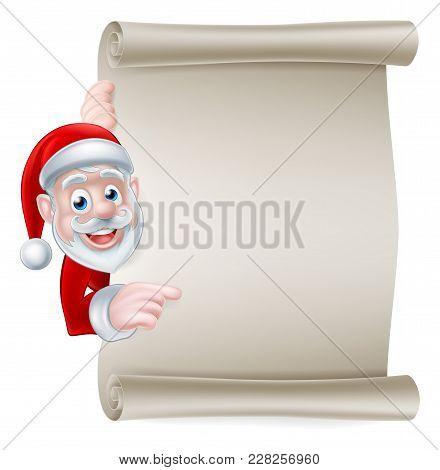 Cartoon Christmas Santa Scroll Sign Of Cartoon Santa Claus Pointing At A Scroll Banner