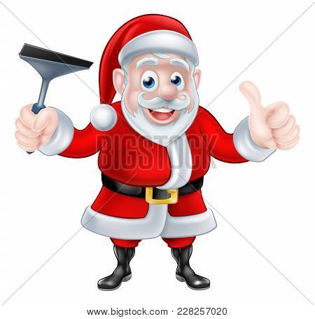 Christmas Cartoon Santa Claus Holding Squeegee Window Cleaner And Giving A Thumbs Up