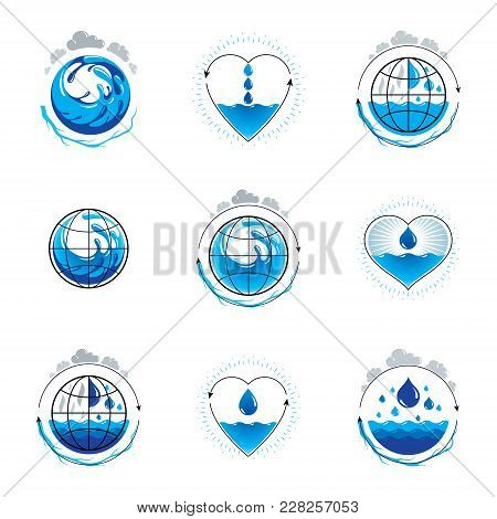 Wave Splash Vector Logotype. World Water Day Theme. Environment Conservation Concept.