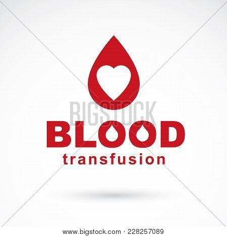 Vector Illustration Of Heart Shape. Blood Transfusion Concept, Charity And Volunteer Conceptual Logo