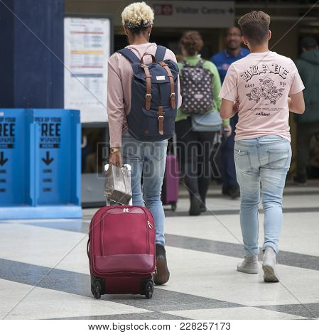 London, England - August 20, 2017 Liverpool Street Station Station. Some People Are Waiting For The