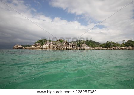 Idyllic Crystal Seawater In Front Of Luxury Hotel, Attractive Clear Sea, Nature Coastline Background