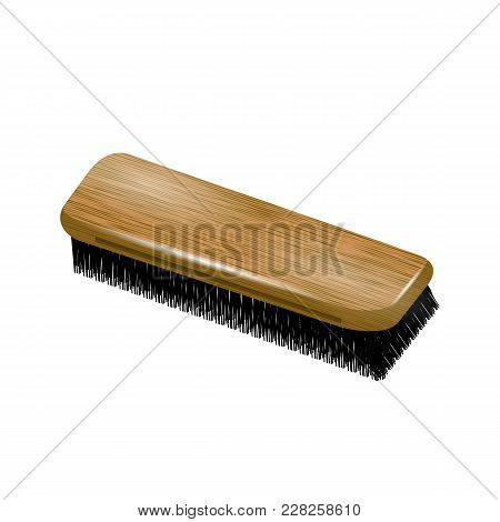 Wooden Clothes Brush Isolated On White Background