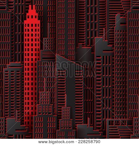 Achitectural Building In Panoramic View. Modern City Skyline Building Industrial Paper Art Landscape