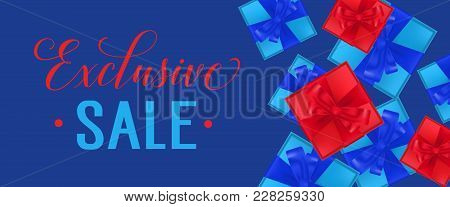 Exclusive Sale Lettering With Present Boxes On Blue Background. Calligraphic Inscription Can Be Used
