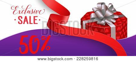 Exclusive Sale, Fifty Percent Lettering With Gift Box And Red Ribbon. Calligraphic Inscription Can B